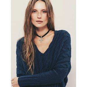 Free People Cable V-neck Sweater in Turkish Sea